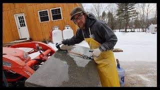 Polishing the Concrete CounterTop ~ Using a Kubota and a Ratchet Strap