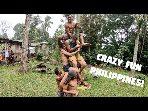CRAZY FUN FILIPINO FIESTA BAMBOO POLE CLIMBING Foreigners Failed In The Philippines