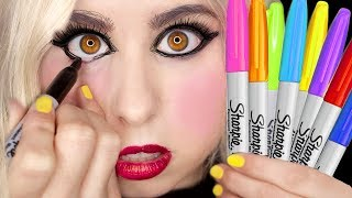 Sharpie Marker Makeup: My Everyday Makeup Using ONLY Sharpie Markers! *CAUTION* (Not Clickbait)