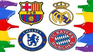 How to Draw and Color - Barcelona, Real Madrid, Bayern Munich and Chelsa Logos Coloring Pages