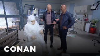 "Conan Becomes Dwayne Johnson's ""Rampage"" Stunt Double"
