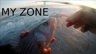 SUNSET & LOW WATER - Salt Water Fly Fishing Striped Bass - WAITING FOR MY ZONE