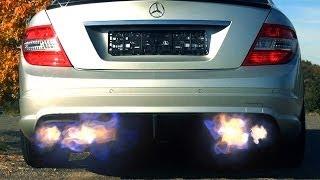 Mercedes C63 AMG Flames Exhaust - Flammen Revving Sound Revs V8 FUNNY Back fire