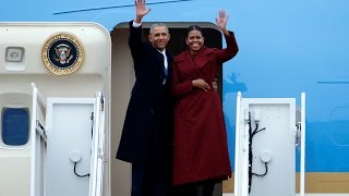 Obama thanks staff and supporters before departing Joint Base Andrews