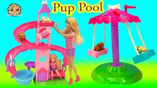 Barbie Doll Slide & Spin Pups Puppy Pool Water Play Playset - Cookieswirlc Video