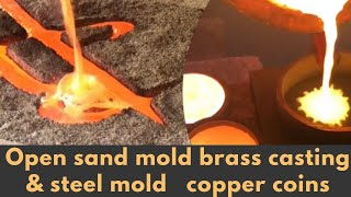 Open sand mold brass casting & steel mold copper coins - Casting Copper & Brass