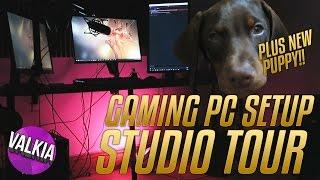 Twitch & YouTube Studio Tour! inc. Gaming PC, New Puppy & More || Valkia