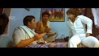 Prajwal Devraj teasing his friends for Food | Vishwa | Komal | Nannavanu  | Kannada Comedy Scenes