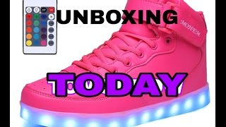 UNBOXING NEW HOT PINK LED LIGHT UP SHOES 😍😙