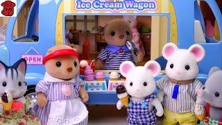 ★토이구마★실바니안패밀리 아이스크림 밴 개봉기♣Sylvanian Families Ice Cream Wagon♣シルバニアファミリーアイスクリームワゴン