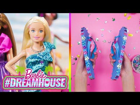 BARBIE DIY rAiNbOw iCe🌈 CuBeZ and GLITTER FLIP FLOPS ✨ Dreamhouse REMIX Barbie
