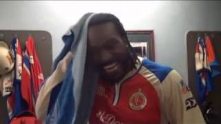 Unseen Back stage Chris Gayle 175 Runs From 66 balls  back stage celebrations in RCB Dressing Room