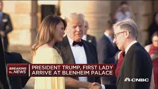 President Trump arrives at Blenheim Palace