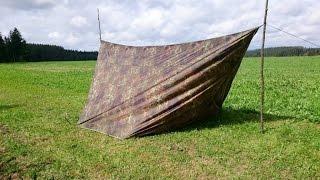 Mega Shelter (Zelt Aufbau mit einem 4 x 4 Meter Tarp) Camping, Bushcraft, Off Road