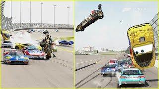 Jeff Gorvette MASSIVE CRASH!   Forza Motorsport 6   NASCAR/R Class