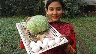 Cabbage Egg Fry Recipe   Badhakopi & Dim Bhaja   Cooking By Street Village Food