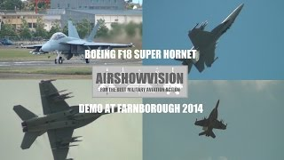 US NAVY F18 SUPER HORNET DEMO - FARNBOROUGH 2014 (airshowvision)