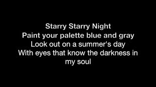 Vincent (Starry Starry Night) - HD With Lyrics! By: Chris Landmark