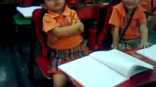 small school girl in fun