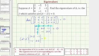 Ex: Find the Eigenvalues of a 3x3 Matrix