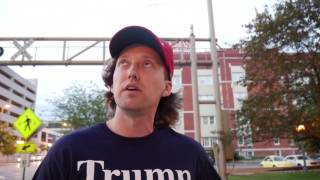 Trump supporter flips out after interview!! (Raw footage)