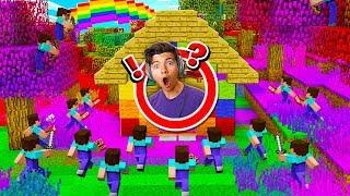 100 FANS vs MY RAINBOW  MINECRAFT HOUSE! - Minecraft Mods