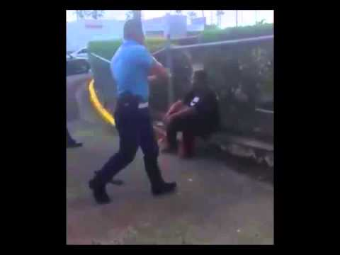Police Taser vs Big weeping man after fighting with several guards