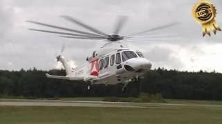 Wiking Offshore Hubschrauber landet+ Take off in Güttin EDCG