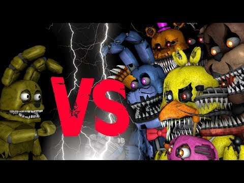 Plushtrap vs Nightmare Freddy Bonnie Chica Foxy Fredbear | FNAF SFM