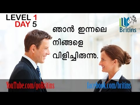 Spoken English in Malayalam- Level 1, Day 5