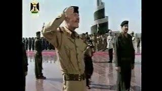 نيابة عن السيد القائد صدام حسين الرفيق عزت الدوري يضع أكليلا من الزهور علي ضريح الجندي المجهول