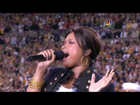 Jennifer Hudson - The Star Spangled Banner, Super Bowl XLIII 2009, subtitles lyrics HD 720p