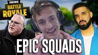 Squads with Ninja, Drake, and Kimdotcom! - Fortnite Battle Royale Gameplay