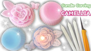 CANDLE CARVING | Camellia | How to Make Soft Candle | EASY | DIY | Satisfying |