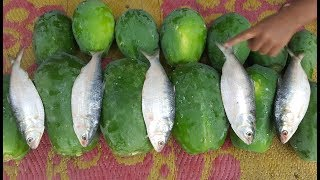 Green Papaya & Hilsa/Elish Mashed   Most Tasty & Healthy Village Foods Cooking By Women