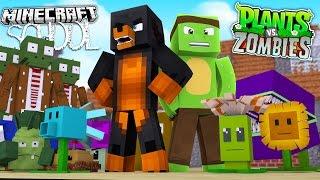 Minecraft SCHOOL - PLANTS VS ZOMBIES SCHOOL TRAINING w/TINY TURTLE - Donut the Dog Minecraft