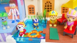 Learn Colors with Paw Patrol Pool Camper RV Swimming on Barbie Ryder Don