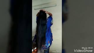 Long hair play/flaunting black,long,shiny Indian beauty/long hair belly dance, long hair dance, r