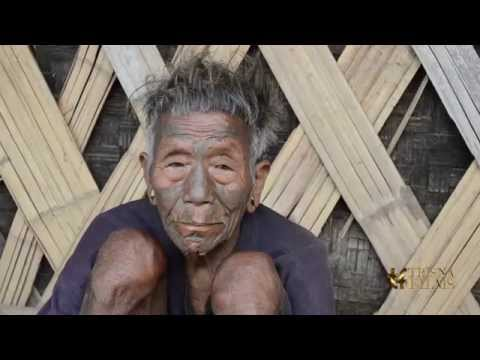 Konyak tribe man tattoo in Nagaland, North East India.