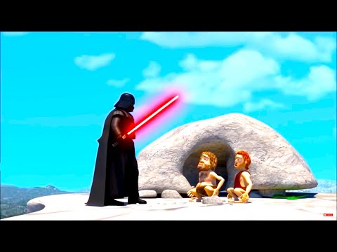 Funny Cartoon Parody of the Stone Age and Star Wars & Inventions in History