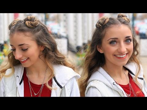 Brooklyn's Double-Bun Half Up Hairstyle & HAIR HACK   Cute Girls Hairstyles Tutorial