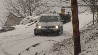 Cars slip and slide down icy hill - Charleston, WV - February 27, 2008