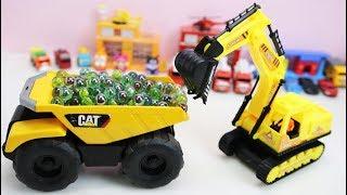 รถแม็คโครตักลูกแก้วใส่รถดั้ม รถของเล่น รถตำรวจ รถแท็กซี่ รถเทเลอร์ Kids toy videos