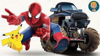 SpiderMan Cartoon Car vs Pikachu and Hombre Araña Monster Trucks | Gertit ToysReview