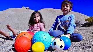 Learn The Names of Ball for Kids with Rolling Them Down The Hill