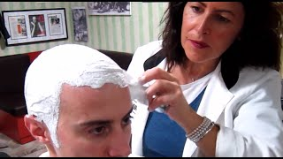 Old school Barber Girl - Head shave with massage and hot towel - ASMR sounds