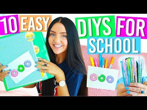10 EASY DIY SCHOOL SUPPLIES FOR BACK TO SCHOOL 2016! Binders, Notebooks, Pencil Case, Organization!