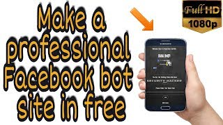 How to make your Personal  Facebook bot site on android in urdu/hindi