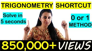 TRIGONOMETRY SHORTCUT//TRICK FOR NDA/JEE/CETs/COMEDK/SOLUTION IN 5 SECONDS