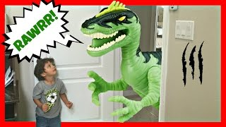 GIANT Life Size Dinosaurs Toys Attacks - Real Kids Jurassic Adventure Park Family Fun